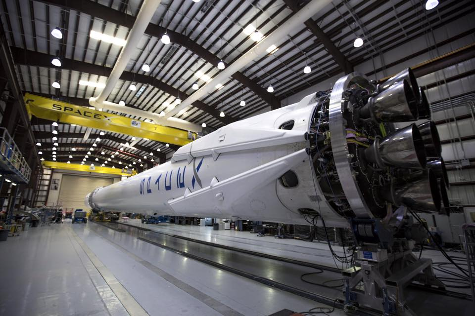 A SpaceX rocket inside a facility